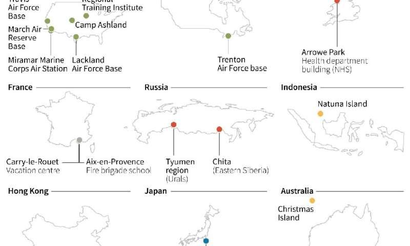 New coronavirus: quarantine locations around the world