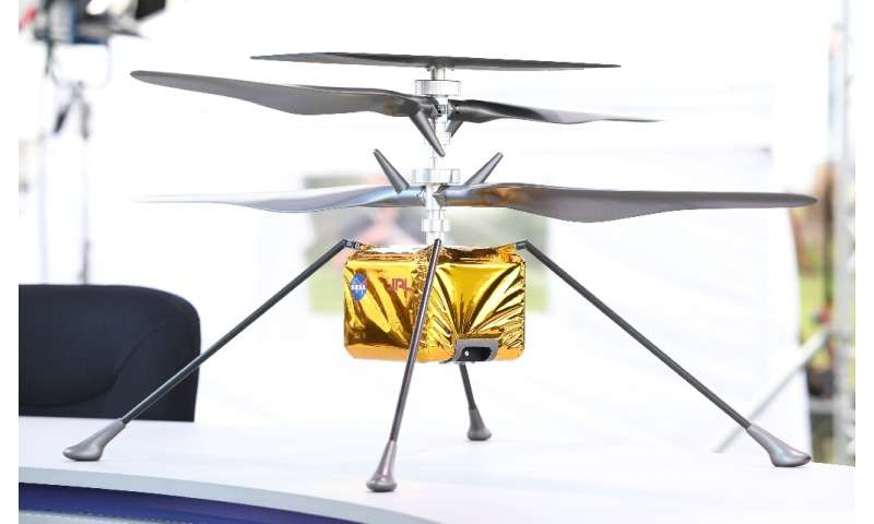 Once on the surface, NASA will deploy the Ingenuity Mars Helicopter—a little 1.8 kilogram (four pound) aircraft that will attemp