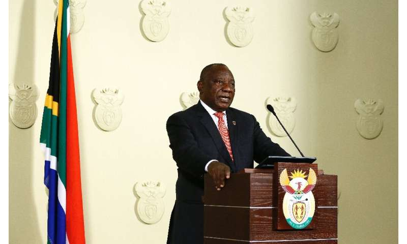 South African President Cyril Ramaphosa addresses the nation on the COVID-19 epidemic in Pretoria on March 15, 2020; Ramaphosa s