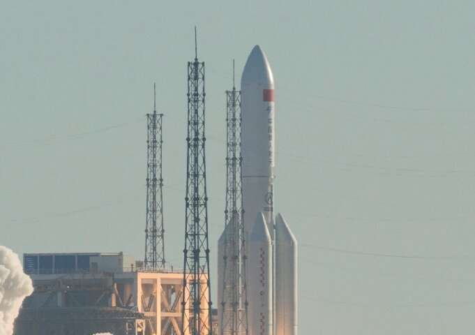 The Long March 5B rocket has a takeoff mass of about 849 tonnes