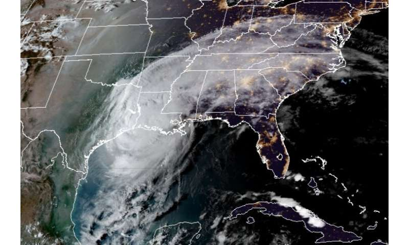 This RAMMB/CIRA satellite image shows Hurricane Delta over the US Gulf Coast on October 9, 2020