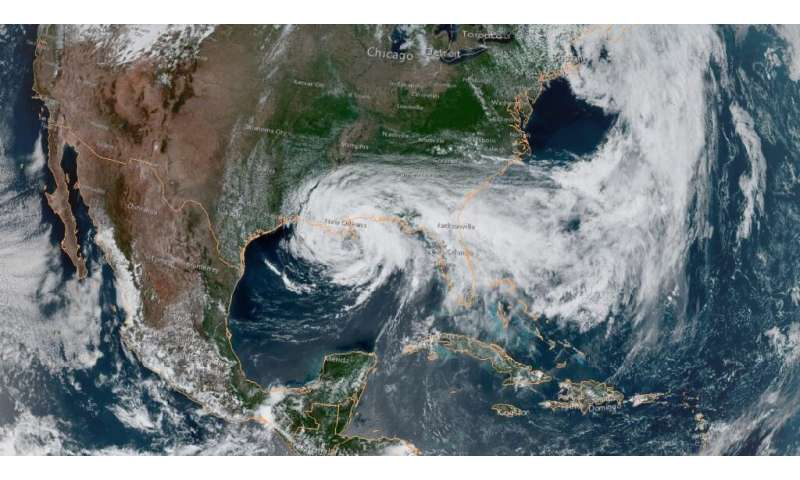 This satellite image obtained from NOAA/RAMMB, shows Tropical Storm Cristobal just south of New Orleans at 19:50 UTC on June 7,