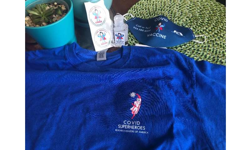"""Vaccine trial participants received t-shirts, masks and stickers Marked """"Covid warriors"""" or """"Covid superheroes&qu"""