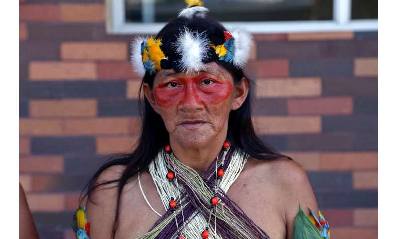 Waorani indigenous woman Juana Mintare poses after filing a lawsuit against Chinese oil company PetroOriental in Orellana provin