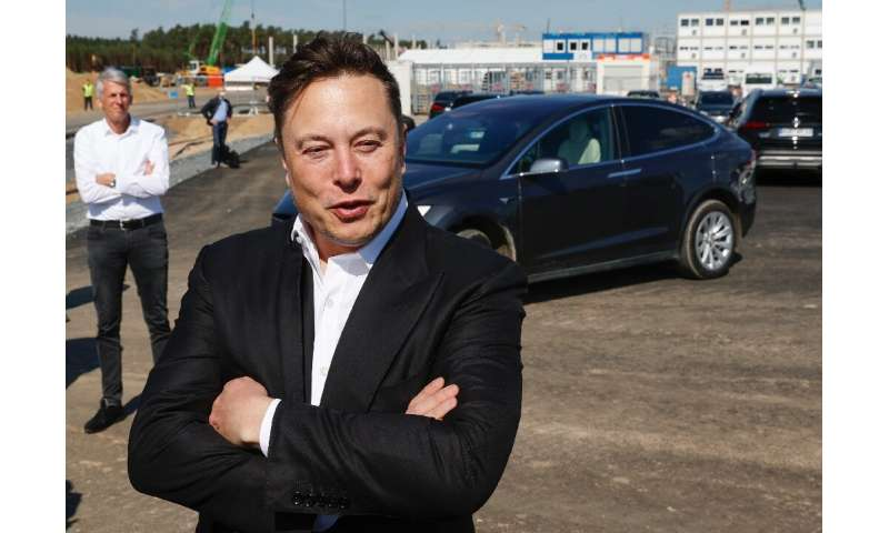 Tesla CEO Elon Musk visits the site of one of his company's future plants in Grunheide near Berlin in September