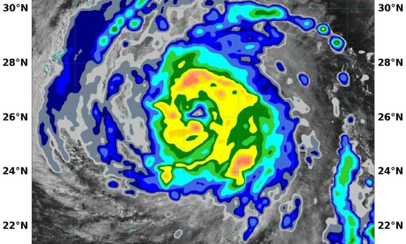 NASA analyzes rainfall around Typhoon Chan-hom's ragged eye