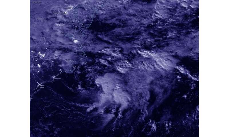 NASA-NOAA satellite provides a nighttime view of new Atlantic tropical depression
