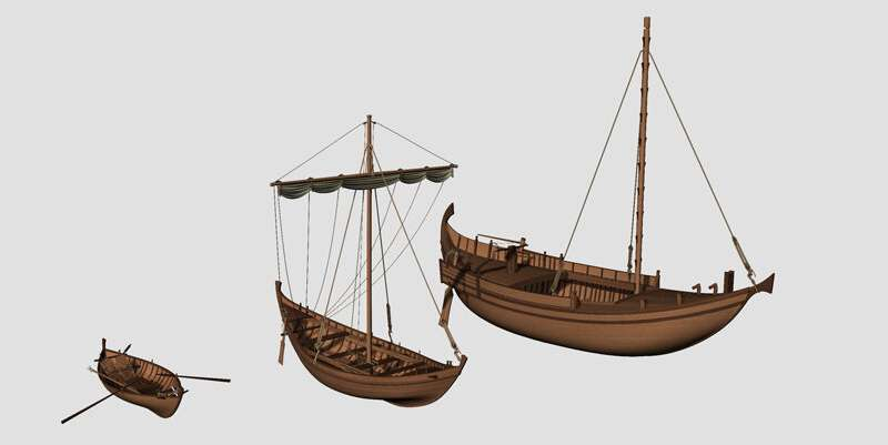 3D reconstructions of boats from the ancient port of Rome