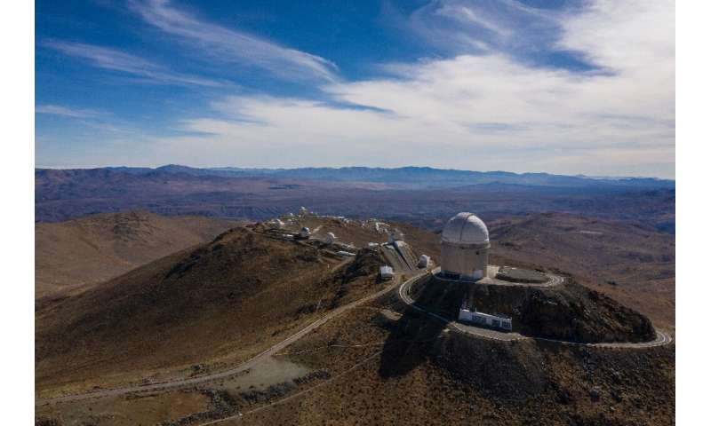 An aerial view of the European Southern Observatory's (ESO) La Silla facility in La Higuera in Chile's Atacama Desert, on June 6