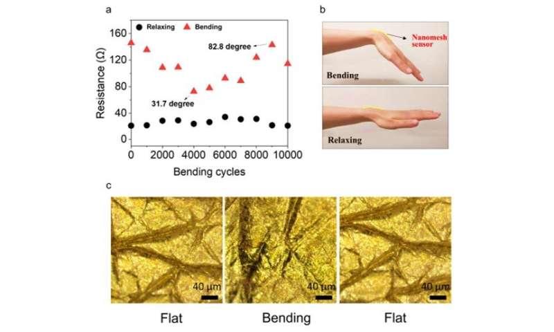 An on-skin durable nanomesh sensor to monitor natural skin motion
