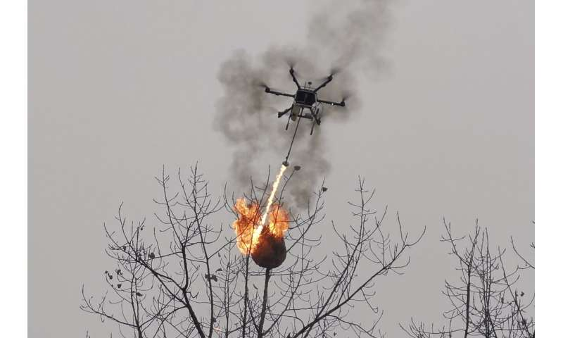 Flamethrower drone incinerates wasp nests in China