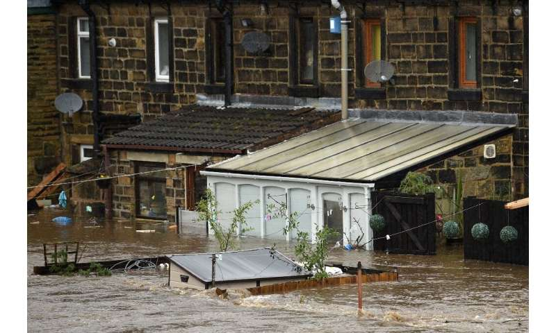 Mytholmroyd in northern England was flooded after the River Calder burst its banks