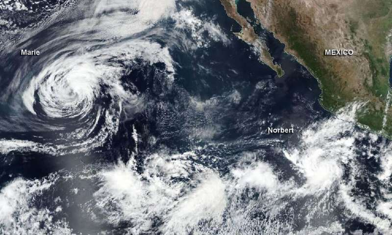 NASA catches development of Tropical Storm Norbert as Marie declines