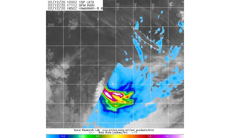 NASA finds heavy rain southwest of tropical cyclone Uesi's center