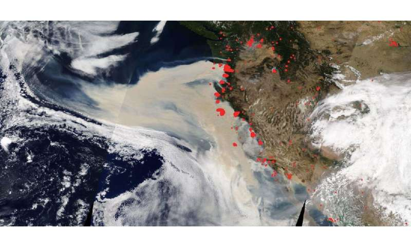 NASA's Terra highlights aerosols from western fires in danger zone