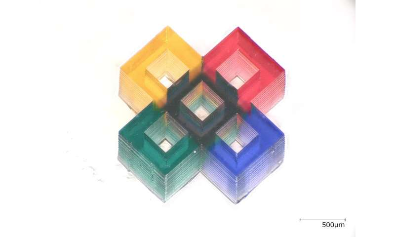 Researchers 3-D print tiny multicolor microstructures