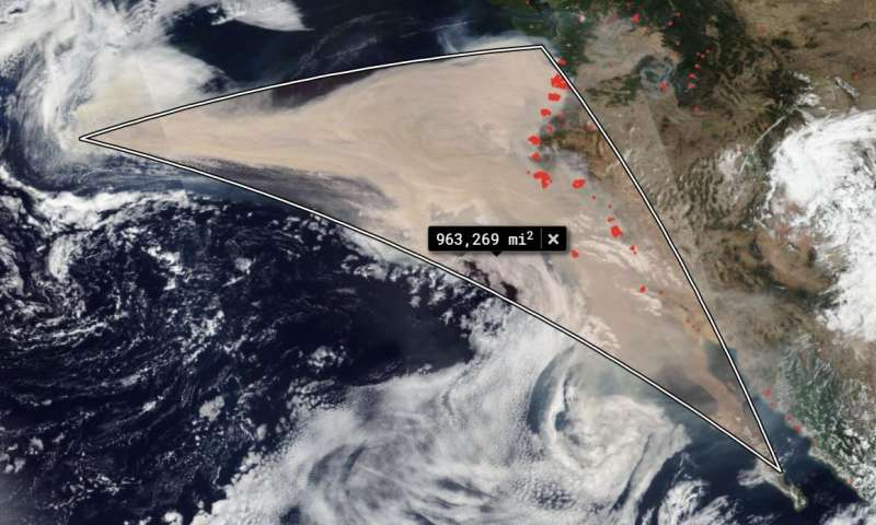 Winds of change move western smoke into the Pacific