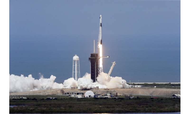 'Back in the game': SpaceX ship blasts off with 2 astronauts