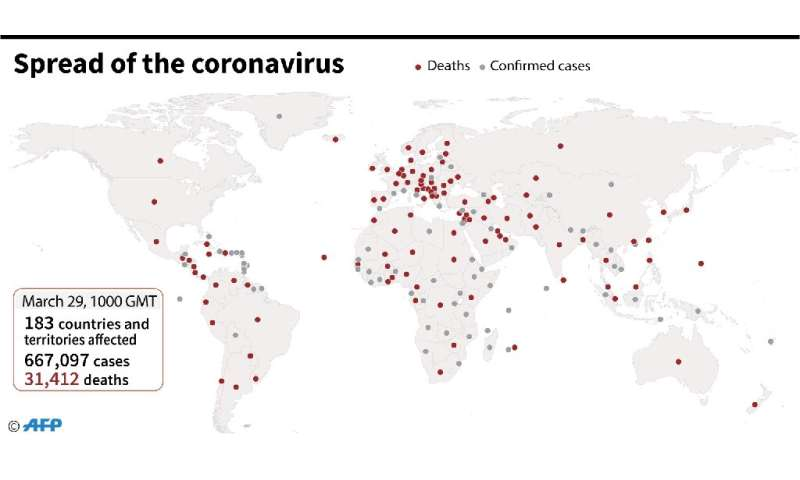 Countries and territories with confirmed new coronavirus cases as of March 29 at 1000 GMT