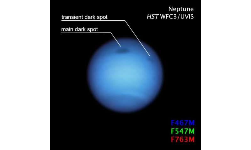 Dark storm on neptune reverses direction, possibly shedding a fragment 3-darkstormonn
