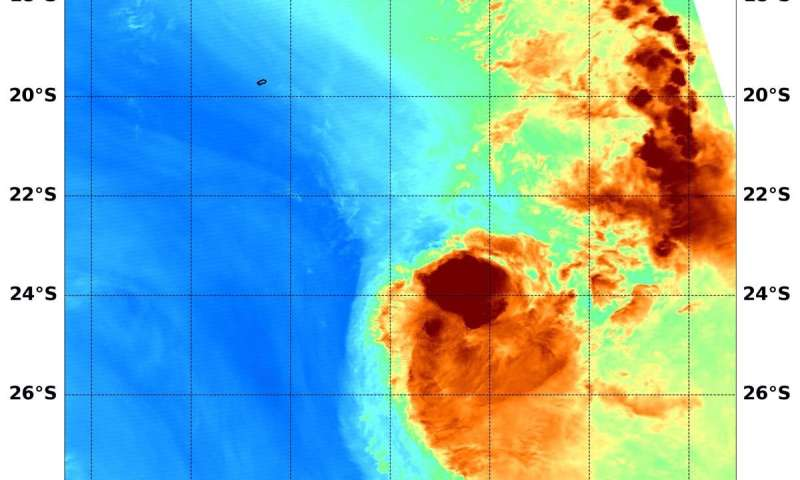 NASA analyzes tropical cyclone Herold's water vapor concentration