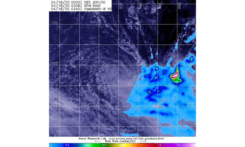 NASA finds Tropical Storm Jeruto's displaced rainfall