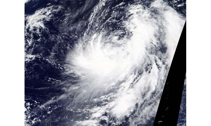 NASA imagery reveals Tropical Storm Chan-hom's skewed structure