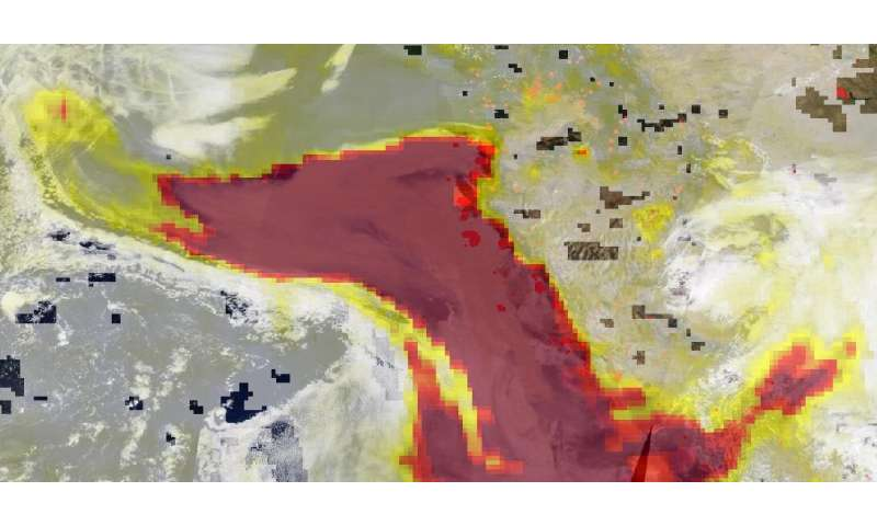 NASA's Terra highlights aerosols from western fires in danger zone