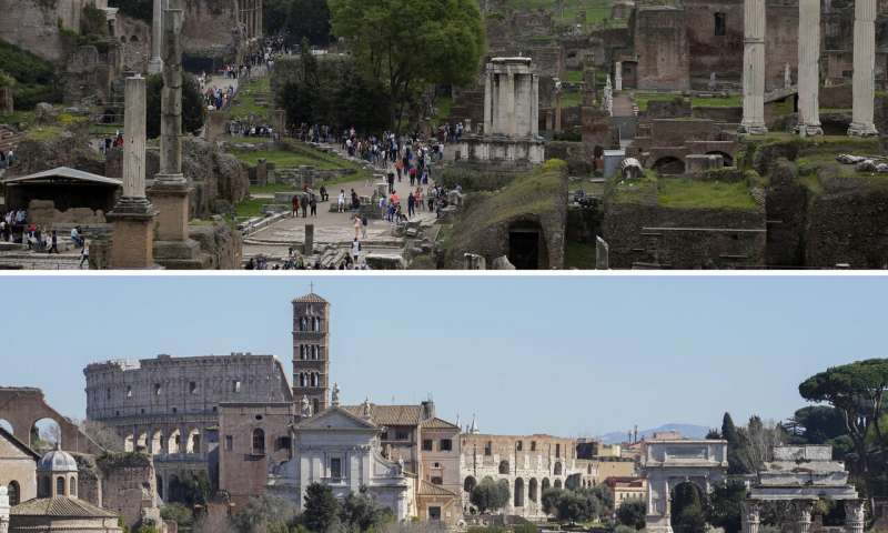 Rome's eternally packed tourist sites emptied