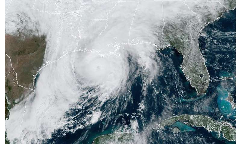 This RAMMB/NOAA satellite image shows Hurricane Zeta moving in the US Gulf Coast towards Louisiana on October 28, 2020, at 17:40
