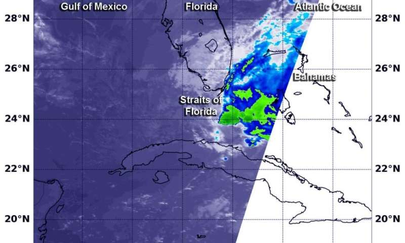 NASA analyzes developing System 90L in Straits of Florida
