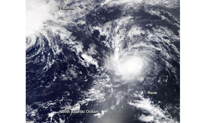 NASA finds Tropical Storm Rene less affected by wind shear