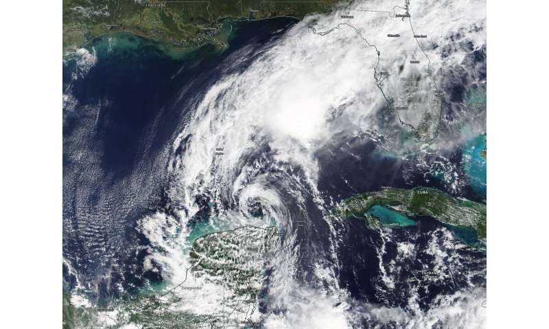 NASA imagery reveals Tropical Storm Gamma battered by wind shear