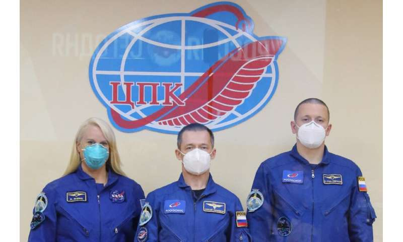 The International Space Station crew of NASA astronaut Kate Rubins and Russian cosmonauts Sergey Ryzhikov and Sergey Kud-Sverchk