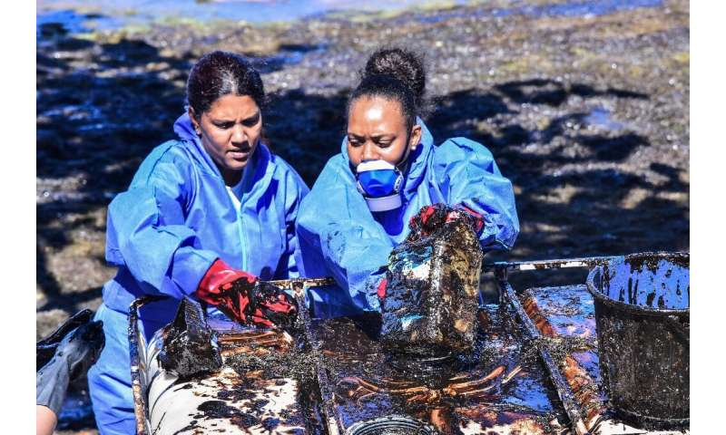 Volunteers fight to clean up leaked oil from the MV Wakashio bulk carrier that had run aground at the beach in Mauritius