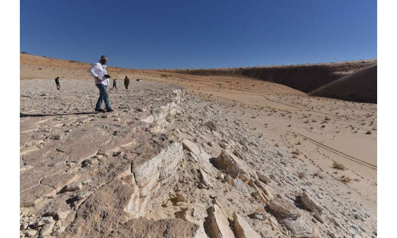 This handout photo shows a view of the edge of the Alathar ancient lake deposit and surrounding landscape