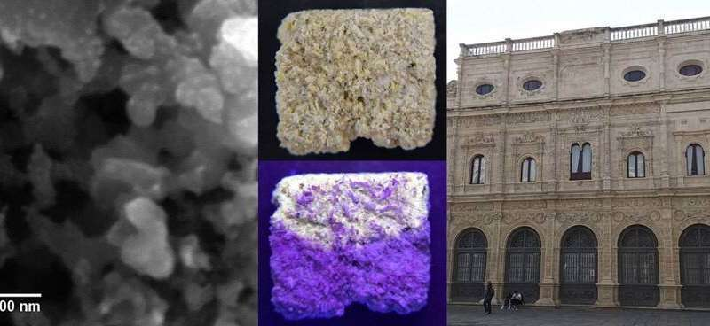 Nanoparticles with quantum dots for restoring monuments