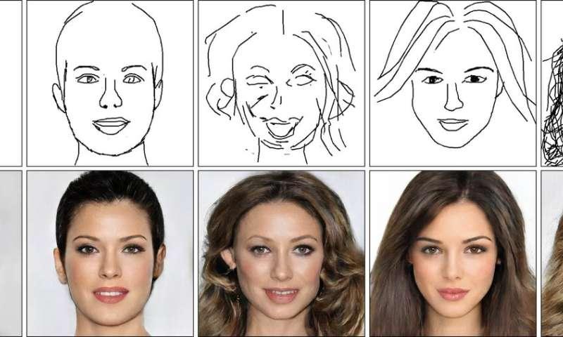 AI creates realistic faces from crude sketches