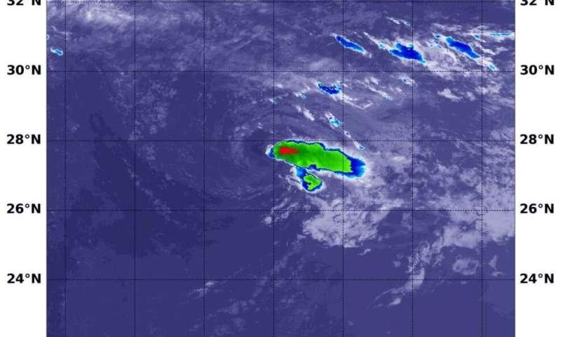 NASA's Aqua satellite finds Rene barely a depression battered by wind shear