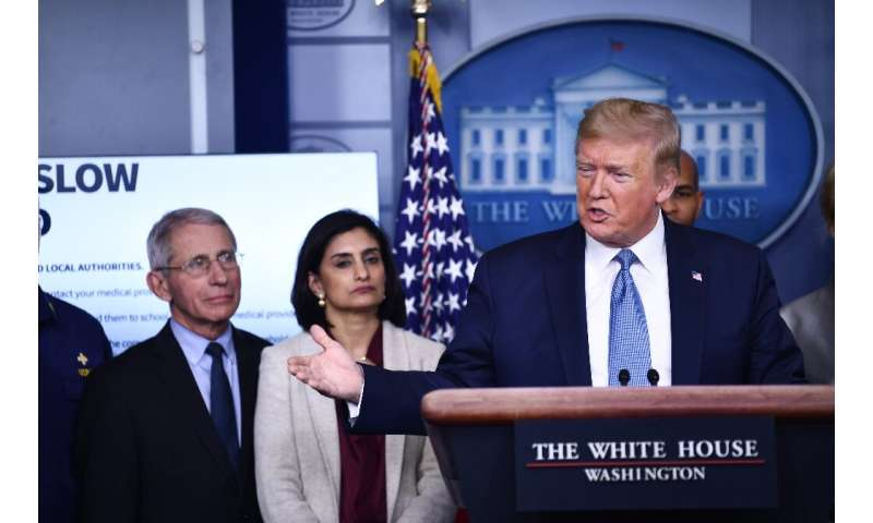 President Donald Trump addresses reporters on the coronavirus pandemic