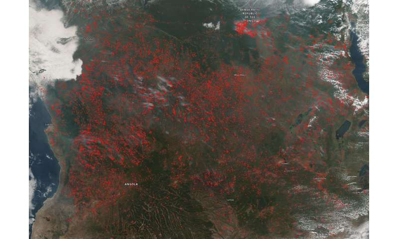 Agricultural fires in central Africa light up in Suomi NPP satellite image