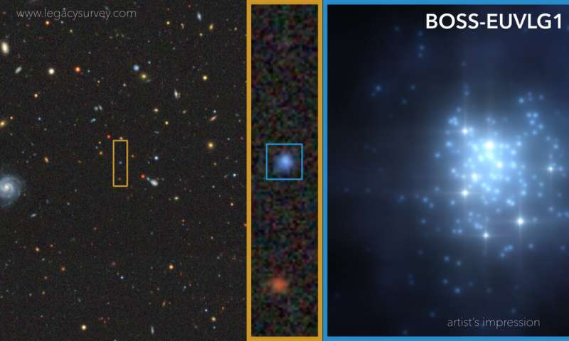 Astronomers find the first galaxy whose ultraviolet luminosity is comparable to that of a quasar