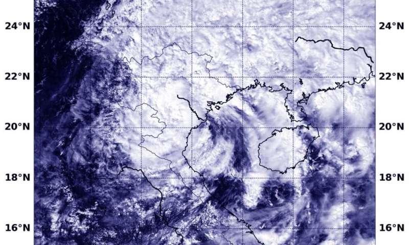 NASA finds wind shear affecting Tropical Storm Nangka post-landfall