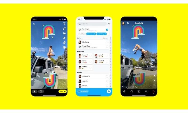 Gambar selebaran ini menunjukkan fitur terbaru Snapchat yang disebut & quot; Spotlight, & quot; umpan video bentuk pendek baru yang dikurasi dalam file