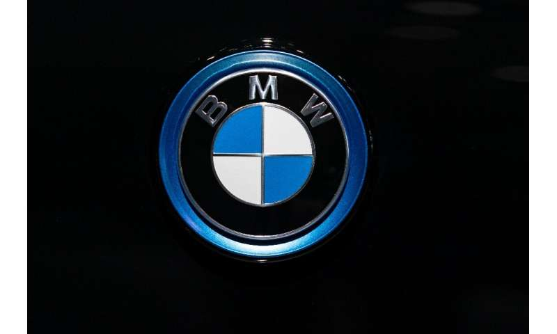 A BMW automobile logo is pictured January 9, 2020 in Brussels; The European Commission has accused BMW, Volkswagen and Daimler o