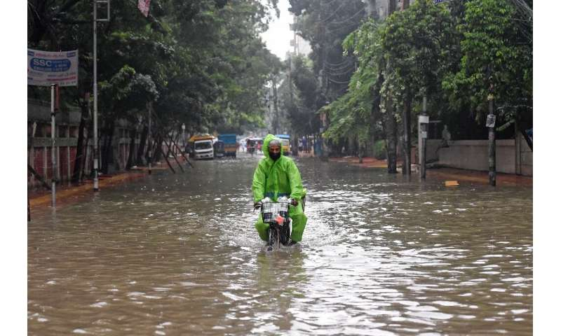 About one-third of Bangladesh, which is criss-crossed by rivers, is under water