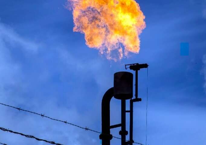 A burner belonging to Chinese oil company PetroOriental near the Miwuaguno village, Orellana province, Ecuador, on December 10,