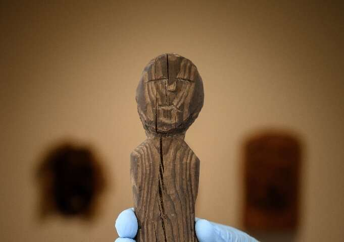 A Celtic artefact from the Iron Age representing a human-shaped statuette discovered in the Arolla glacier