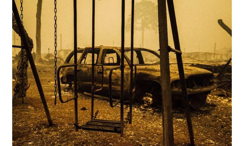 A charred swing set and car are seen after the passage of the Santiam Fire in Gates, Oregon