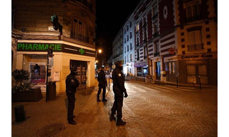 A curfew was imposed in some areas of France with police patrolling the streets